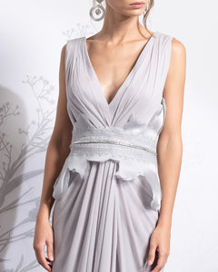 Cross Draped Wrapped Silk Dress - Sandy Nour