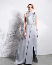 Load image into Gallery viewer, Halter Neck Open Slit A-Line Mikado Dress - Sandy Nour