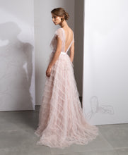 Load image into Gallery viewer, Illusion V-Neck Tiered Butterfly Sleeve Dress - Sandy Nour