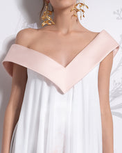 Load image into Gallery viewer, Asymmetric Off-the-Shoulder Iris Chiffon Dress - Sandy Nour