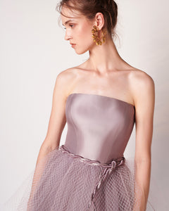 Wisteria - Strapless Fishnet Tiered Dress