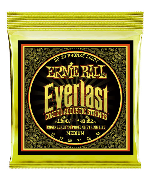 Ernie Ball Encordadura Everlast Medium Coated 80/20 Bronze 2554, Guitarra Acústica, 13-56