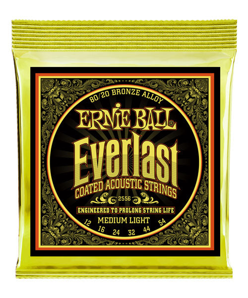 Ernie Ball Encordadura Everlast Medium Light Coated 80/20 Bronze 2556, Guitarra Acústica, 12-54
