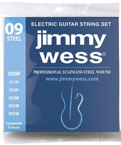 Jimmy Wess Encordadura Pro para Guitarra Eléctrica WA1009 Acero Inoxidable