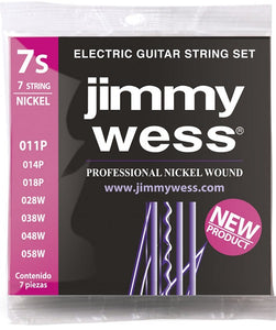 Jimmy Wess Encordadura para Guitarra Eléctrica JWGE-1007N Nickel 7 Cuerdas