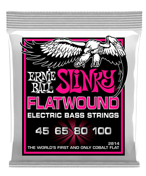 "Ernie Ball Encordadura ""Super Slinky Flatwound"" 2814, Bajo Eléctrico 45-100"