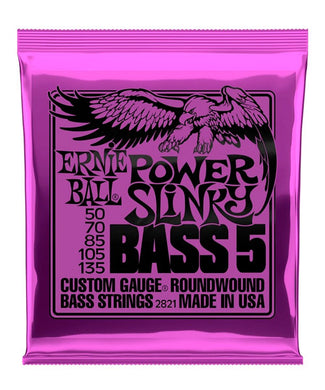 Ernie Ball Encordadura Bajo Eléctrico 2821 Power Slinky 5 Cuerdas Nickel Wound
