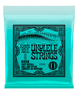 "Ernie Ball Encordadura ""Ukulele Ball End"" 2326, Soprano/Concierto, Nylon Negro"