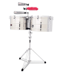 "Latin Percussion Timbales 15"" y 16"" Cromados con Atril LP1516-S Prestige Thunder"
