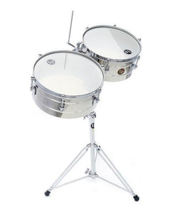 "Latin Percussion Timbales Tito Puente 14""/15"" Cromados Con Atril LP257-S"