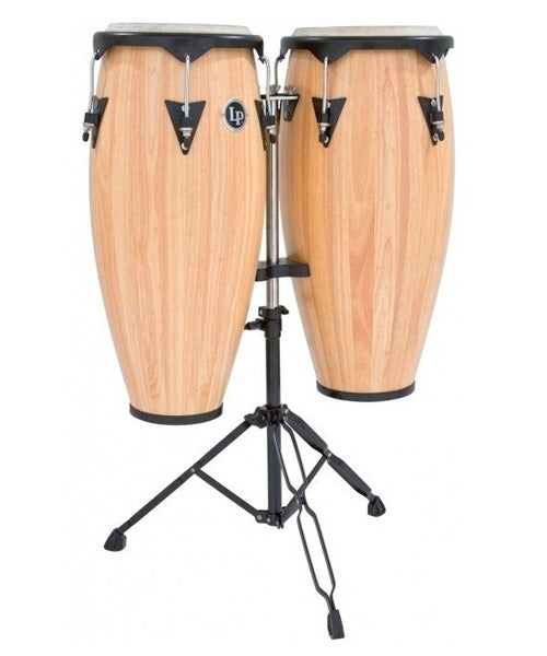 "Latin Percussion Congas 11"" y 12"" Con Atril Madera Natural LP647NY-AW City"
