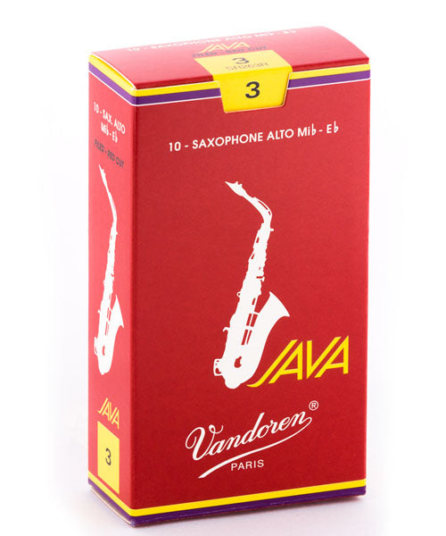 "Vandoren Cañas JAVA ""Filed-Red Cut"" Para Saxofón Alto 3, SR263R Caja Con 10 Pzas"