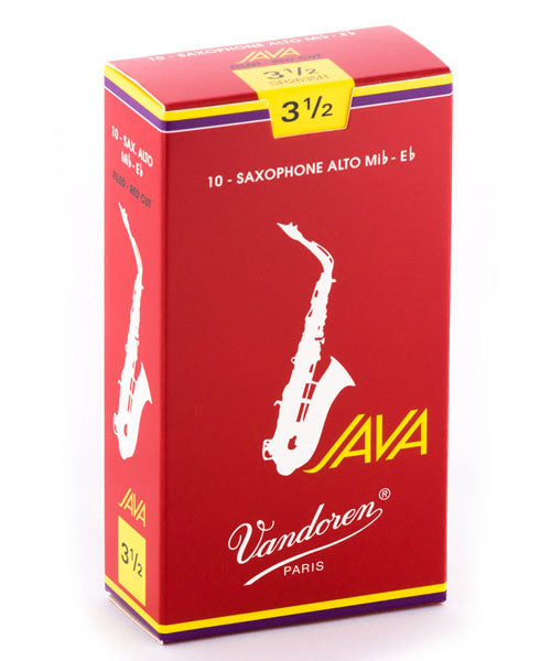 "Vandoren Cañas JAVA ""Filed-Red Cut"" Para Saxofón Alto 3 1/2, SR2635R, Caja Con 10 Pzas"
