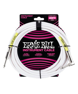 Ernie Ball Cable Clásico 6047 Blanco 6.09 Mts. Recto/Angulado