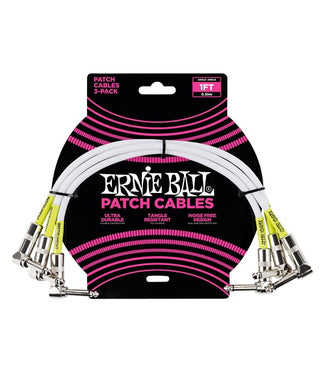 Ernie Ball Cables Patch 6055 Blanco 0.30 Mts. Angulado/Angulado 3 Piezas