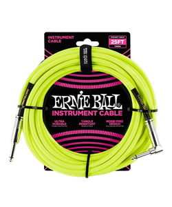 Ernie Ball Cable Braided 6057 Amarillo Neon 7.62 Mts. Recto/Angulado