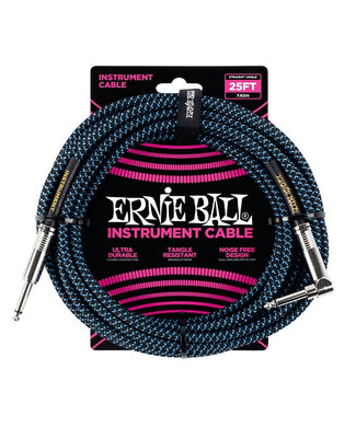 Ernie Ball Cable Braided 6060 Negro/Azul Neon 7.62 Mts. Recto/Angulado