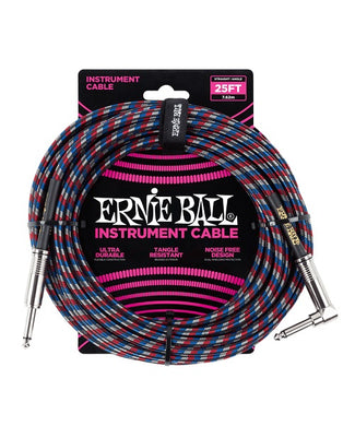 Ernie Ball Cable Braided 6063 Negro/Rojo/Azul/Blanco 7.62 Mts. Recto/Angulado