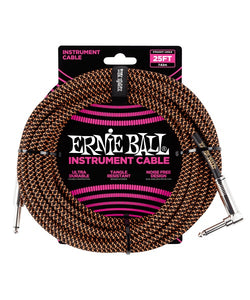 Ernie Ball Cable Braided 6064 Negro/Anaranjado Neon 7.62 Mts. Recto/Angulado