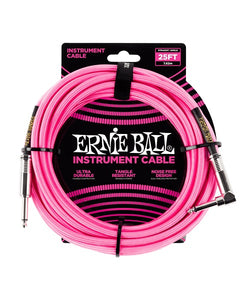 Ernie Ball Cable Braided 6065 Rosa Neon 7.62 Mts. Recto/Angulado