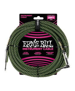 Ernie Ball Cable Braided 6066 Negro/Verde Neon 7.62 Mts. Recto/Angulado