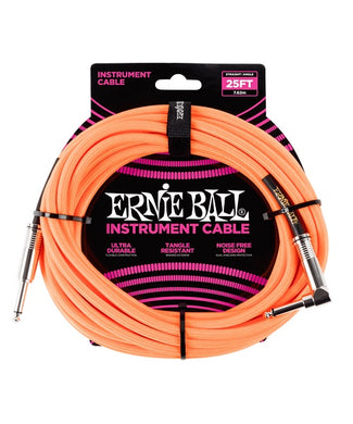 Ernie Ball Cable Braided 6067 Anaranjado Neon 7.62 Mts. Recto/Angulado