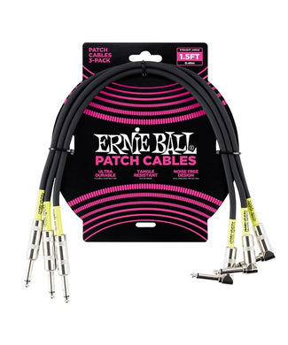 Ernie Ball Cables Patch 6076 Negro 0.46 Mts. Angulado/Angulado 3 Piezas