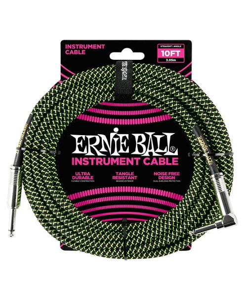 Ernie Ball Cable Braided 6077 Negro/Verde 3.05 Mts. Recto/Angulado