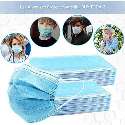 50pcs Disposable Safety 3 Ply Face Masks – Non Woven, Hypoallergenic, Nanofiber Filter Lining with Elastic Ear Loop – by PIXI Creations