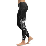 WOMEN BLACK AND WHITE FLOWER DESIGN LEGGINGS (DIFFERENT SIZES AVAILABLE)