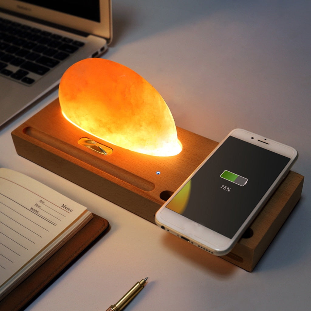 HIMALAYAN SALT LAMP WITH WIRELESS CHARGER