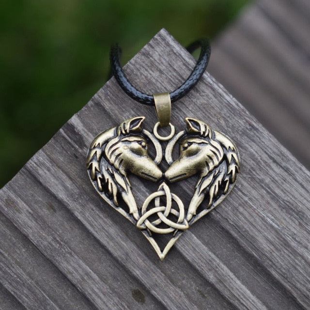 CELTIC WOLF HEART PENDANT WITH CELTIC TRINITY