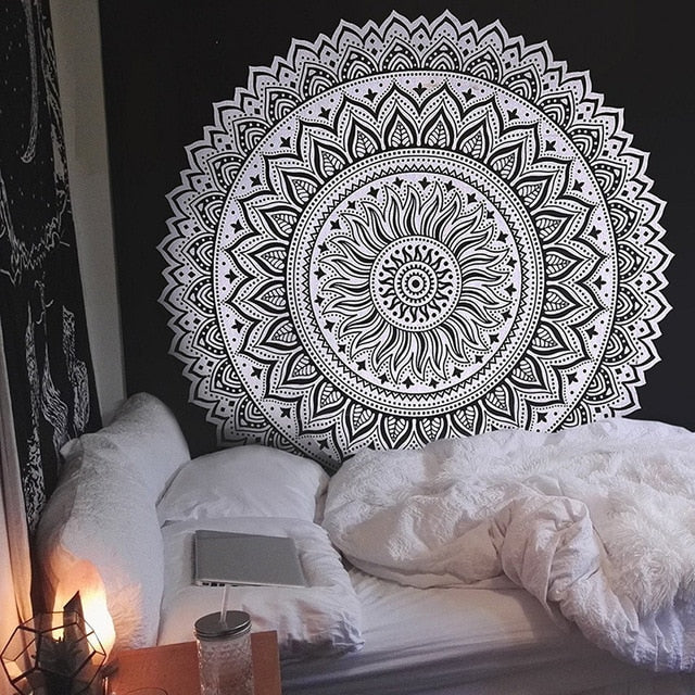 MANDALA, FLORAL, COMPASS, DREAM-CATCHER TAPESTRY BLACK AND WHITE