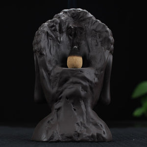 CERAMIC BUDDHA BACKFLOW INCENSE BASE WITH FREE 10 PC INCENSE CONES
