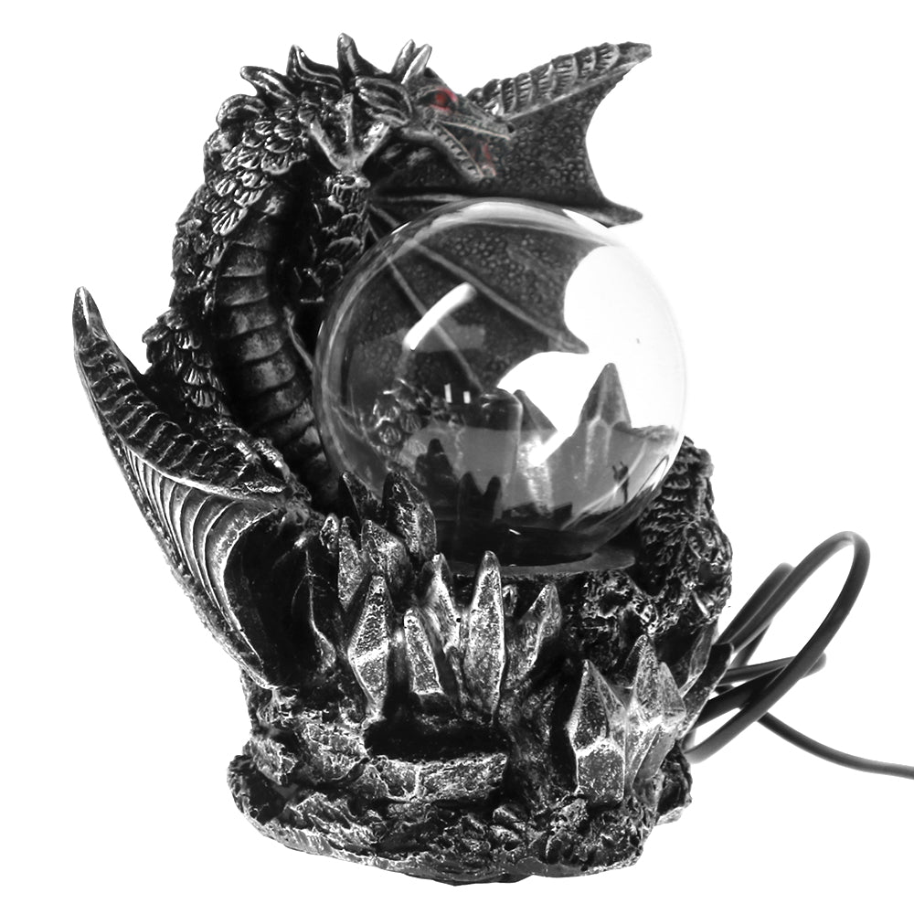 NEW MEDIEVAL RESIN DRAGON WITH ELECTRIC PLASMA GAZING BALL