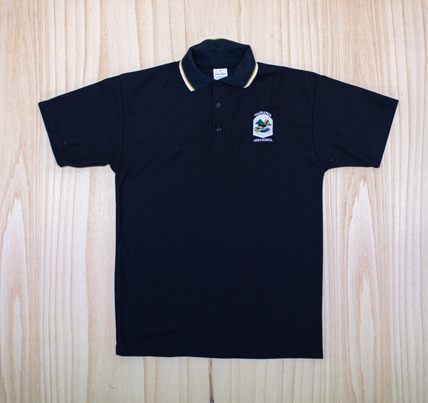 Tauraroa Area School Senior Black Polo