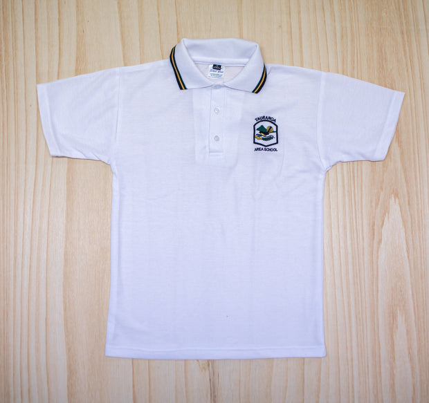 Tauraroa Area School Senior White Polo