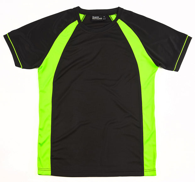 Black/Fluro Green Tee
