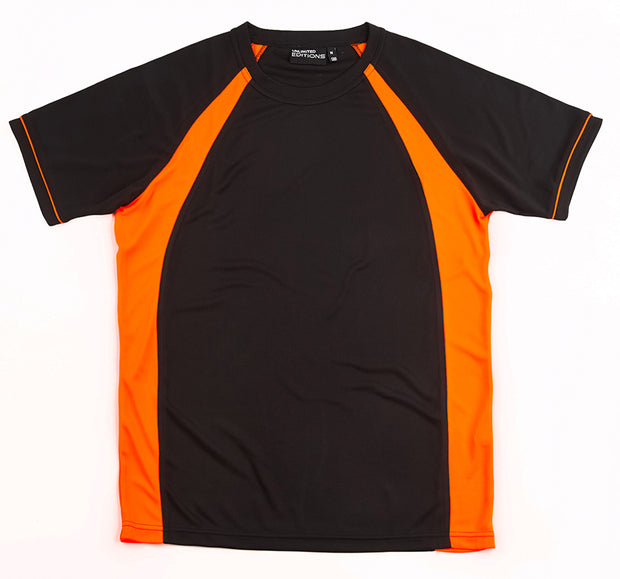 Black/Fluro Orange Tee