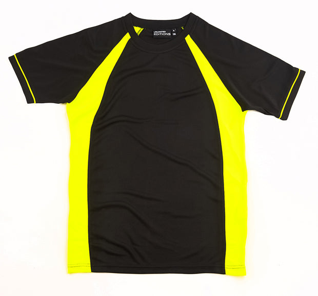Black/Fluro Yellow Tee