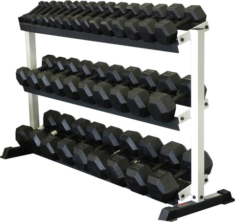 Rubber Hex Dumbells - 3 Tier Stand