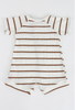 Tommy Romper // Cream/Mocha Stripe