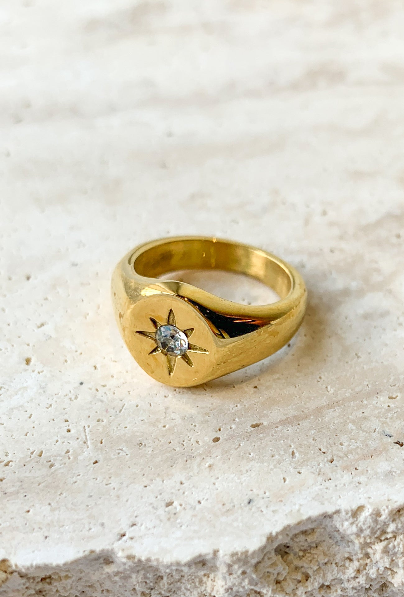 18K GOLD PLATED NORTH STAR RING