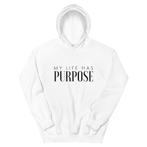 """My Life Has Purpose"" Hoodie in White"