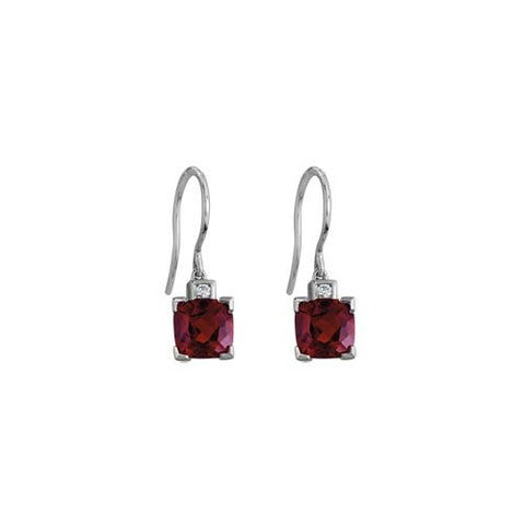 Garnet And Diamond Earrings In 14k