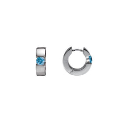 Blue Topaz Huggie Earrings In Sterling