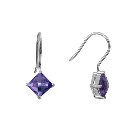 Amethyst In Sterling Earrings