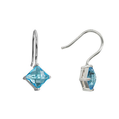 Blue Topaz In Sterling Earrings