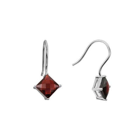 Garnet In Sterling Earrings