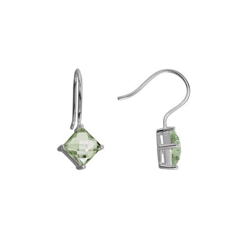 Green Amethyst In Sterling Earrings